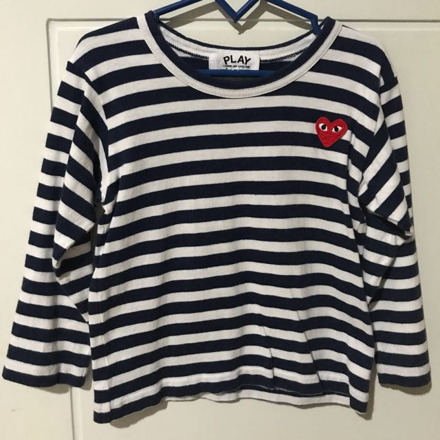 Comme Des Garcons Play Stripe Long Sleeve T-shirt(navy)