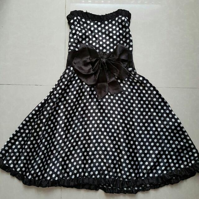 dress polkadot black