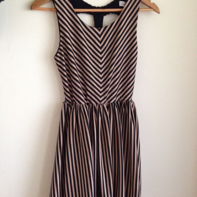Finders Keepers Stripe Cut Out Dress