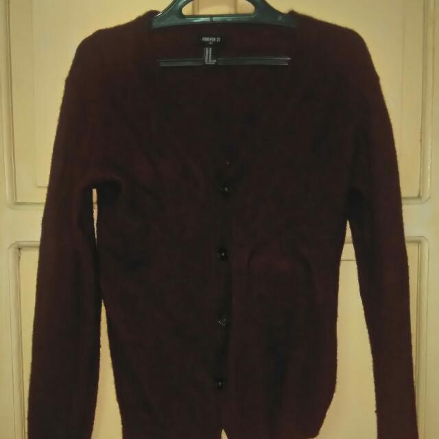 Forever 21 Men Maroon Cardigan Almost New