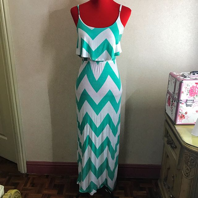 Graphic Teal Maxi Dress