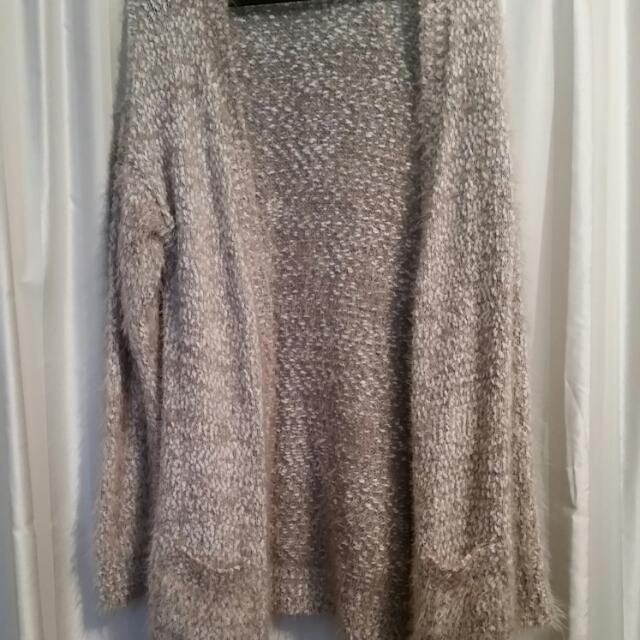 Grey / White Fluffy Knit Cardigan - Size 12 / 14