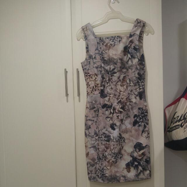 Grey Floral Bodycon Dress