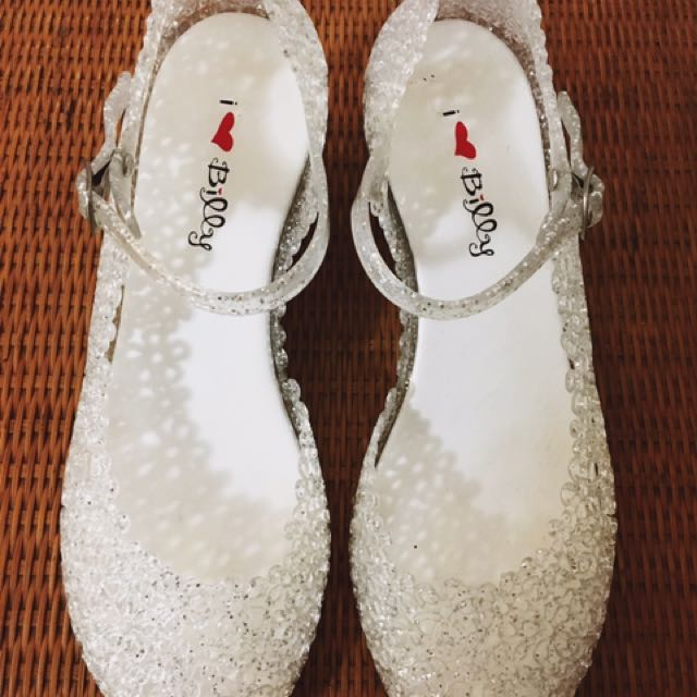 I Love ❤️ Billy Silver Glitter Mary Jane Wedge Shoes