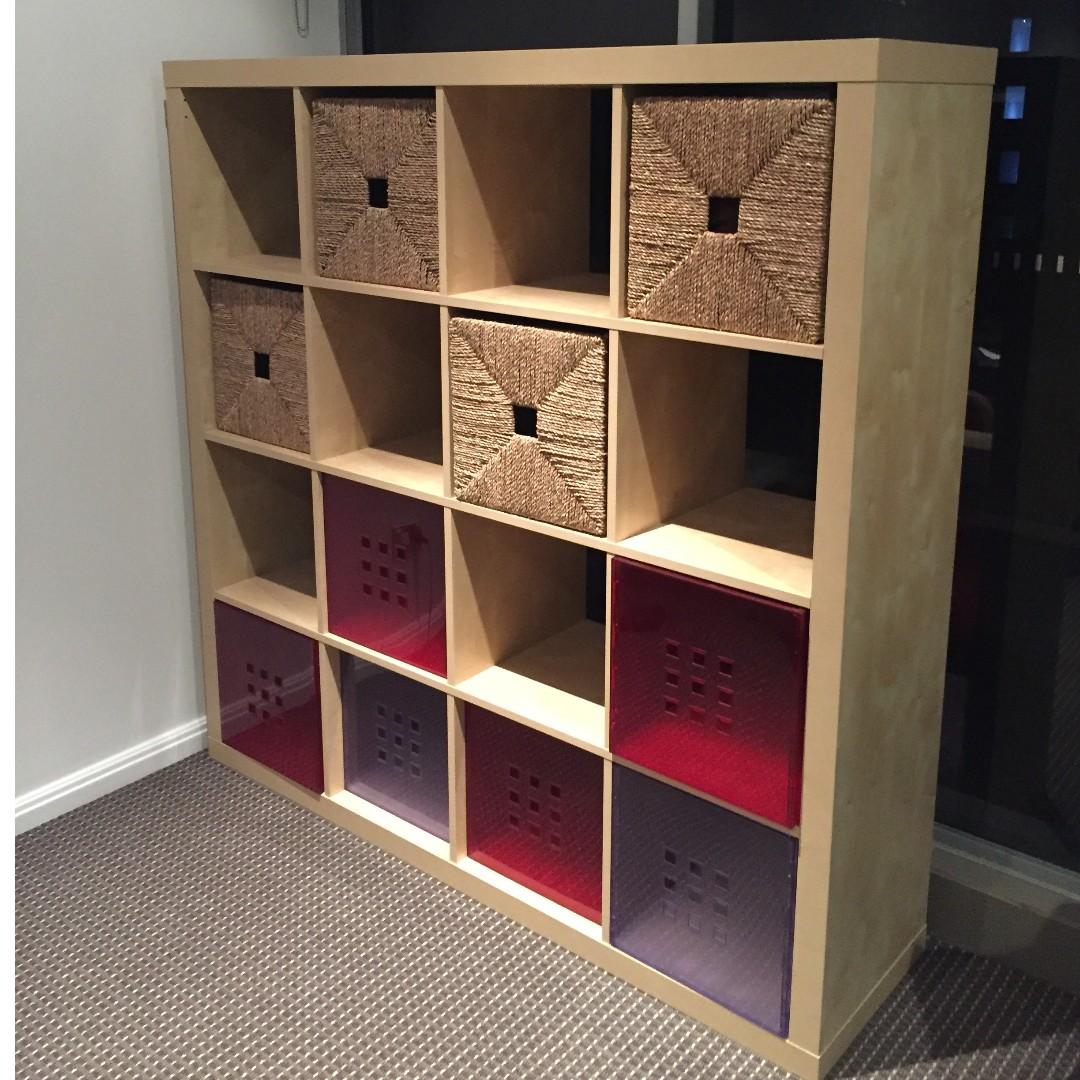 Ikea Shelf Kallax White Stained Oak Effect 4x4 Shelving Units Home Furniture On Carou