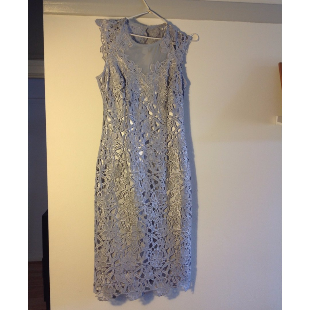 Lipsy London VIP Grey Lace Dress Sz 8 BNWOT
