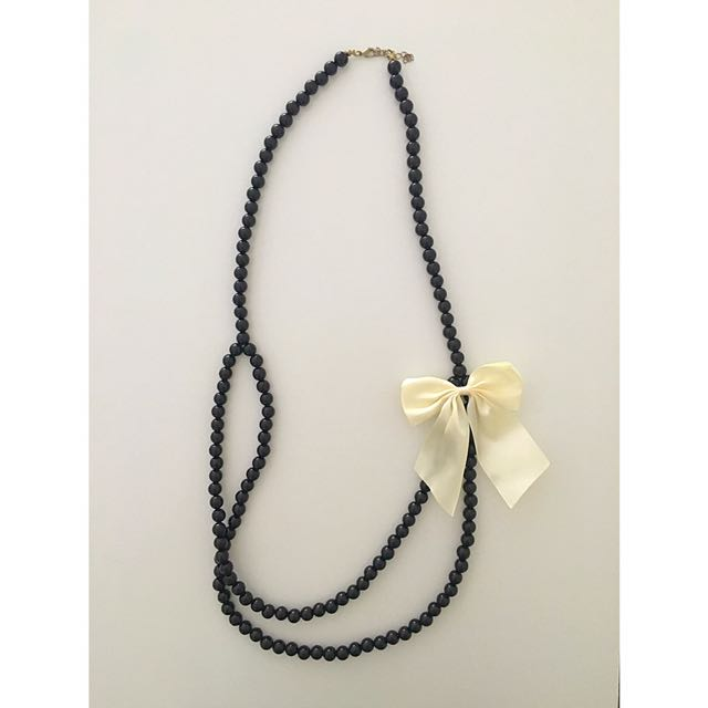 Long Black Pearl White Ribbon Necklace