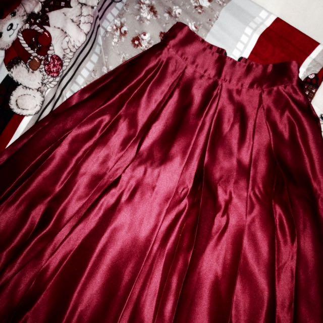 Maroon Silky Midi Skirt