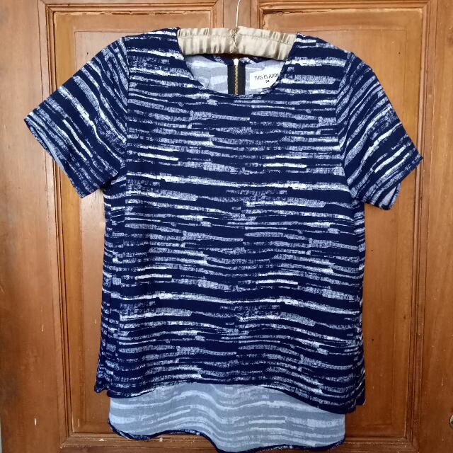 Navy Pleat Top (New) #ClearanceSale