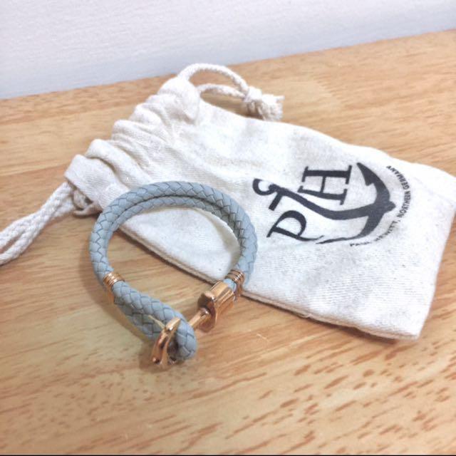 Paul Hewitt   玫瑰金釦皮革手環 灰白