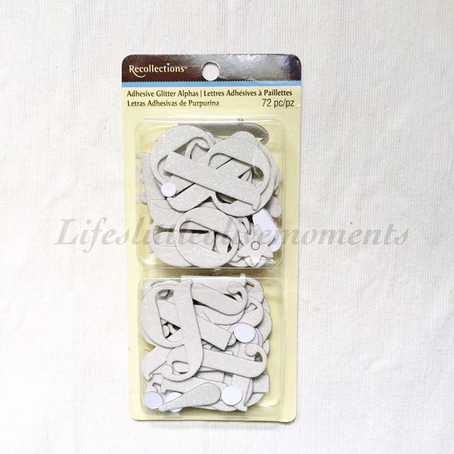 Recollection's self-adhesive chipboard glitter stickers in White
