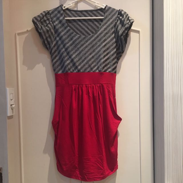 Red and Gray Dress
