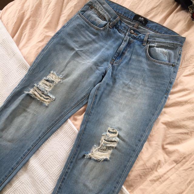 Ripped Light Denim Mom Jeans