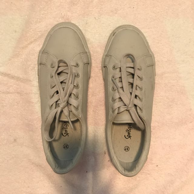 Sportsgirl Grey Teal Patent Sneakers, Size 37