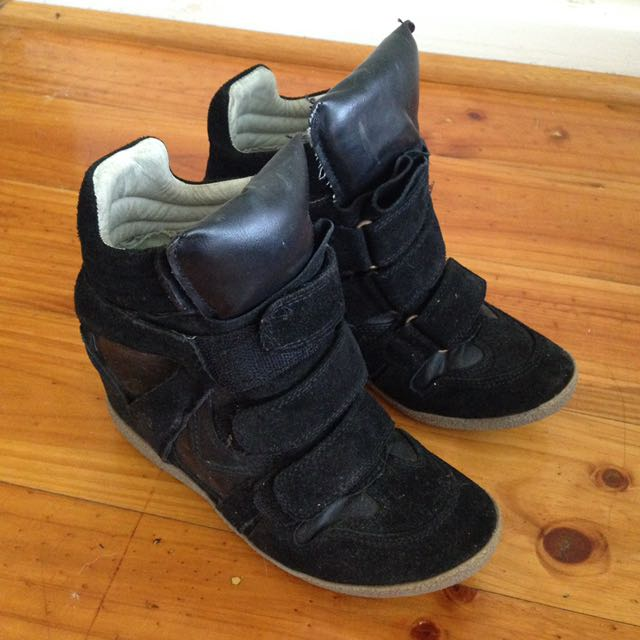 STEVE MADDEN Leather Suede Sneaker Wedge Size 35 5