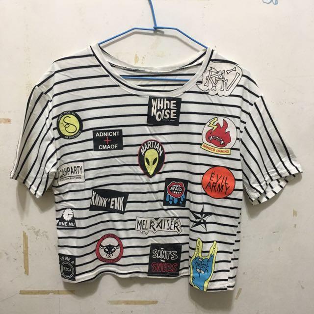 條紋短版T恤