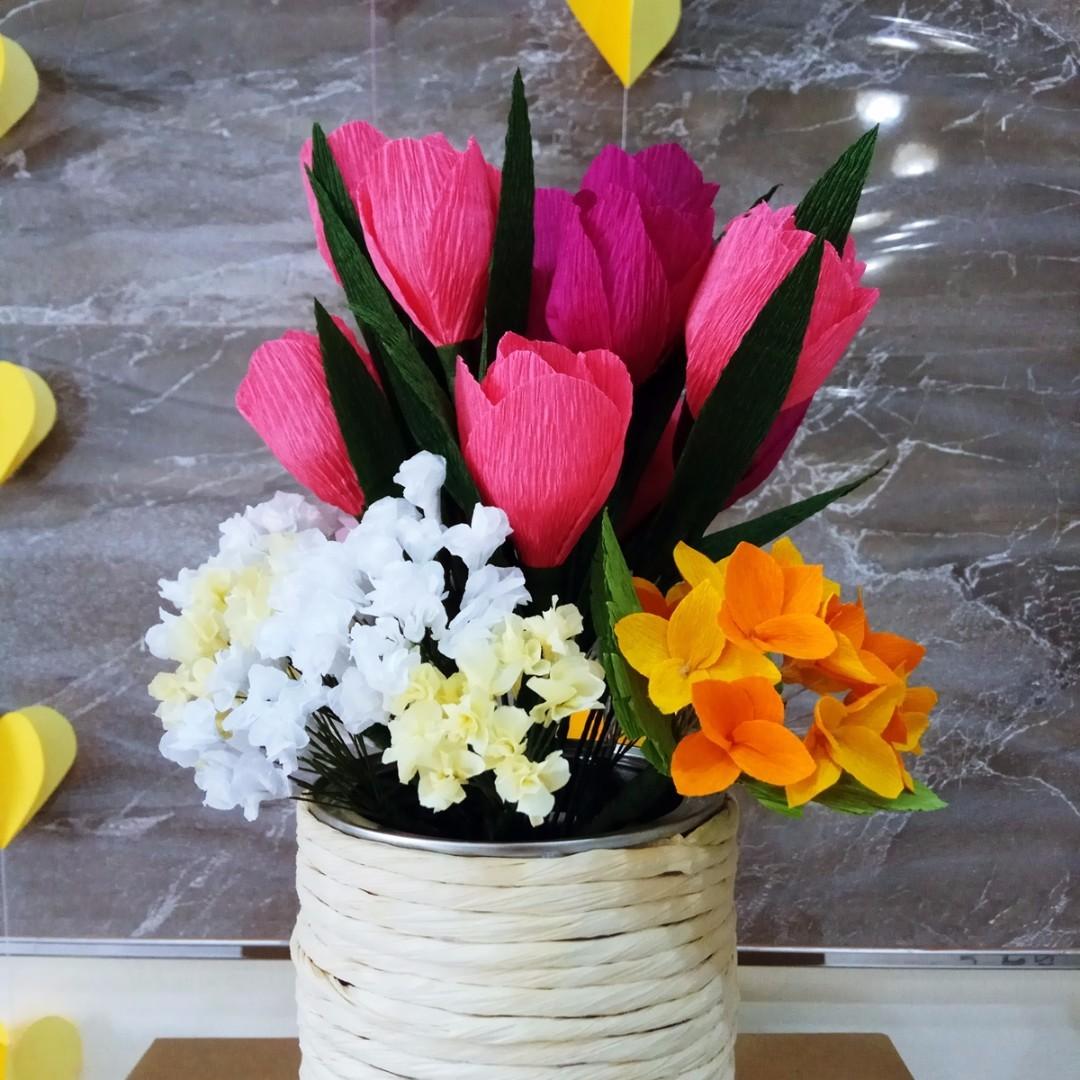 Tulips Crepe Paper Flower Arrangement Design Craft Handmade