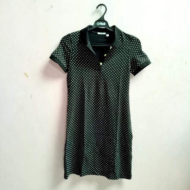 Uniqlo Polka Polo Shirt Dress