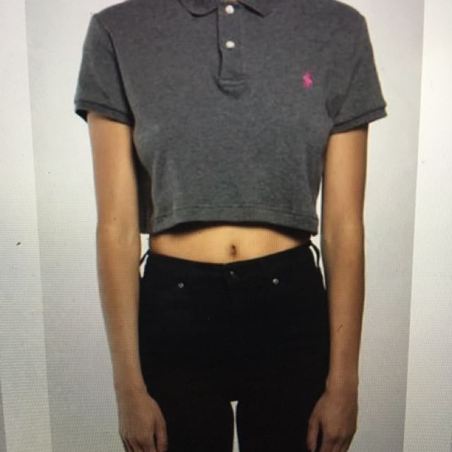 Vintage Cropped Polo In Blue