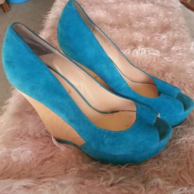 SIZE 7 - Wild Pair Teal Suede And Wooden Wedge Heels