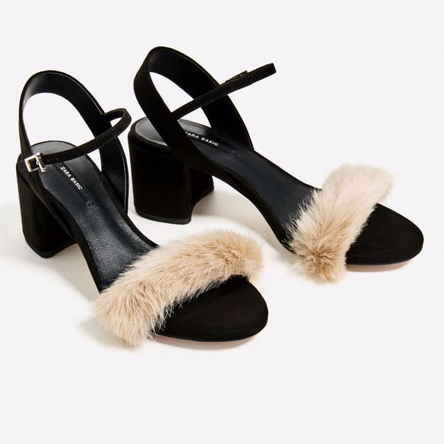 Zara Furry Heeled Sandals