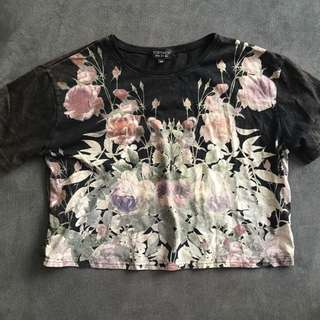 Topshop Floral Cropped T Size Small