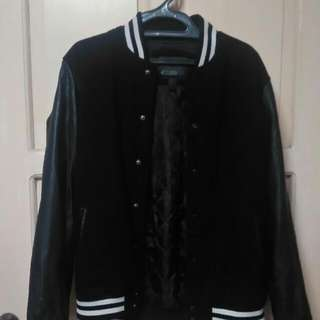 Forever 21 Men Varsity Jacket Leather Sleeves