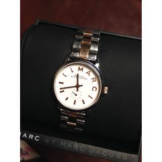 Authentic Marc by Marc Jacobs Baker 28mm Rose Gold Silver Stainless Steel Watch