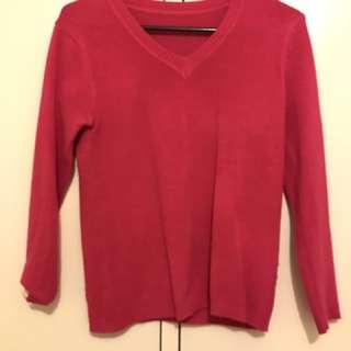 Pink V-neck Sweater Jumper 8
