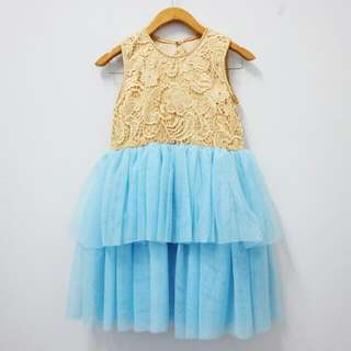 Tile Blue Gold Kids Party Dress