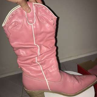 Pink Leather Boots Size 8