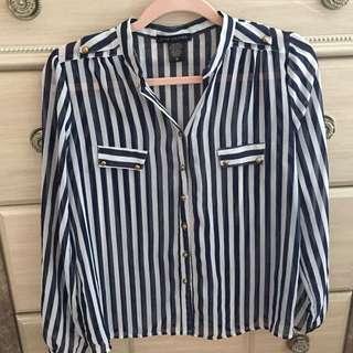 Striped Navy & White Blouse