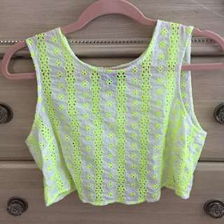 White & Lime Green Top