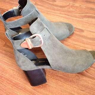 Khaki Green Peeptoe Boots