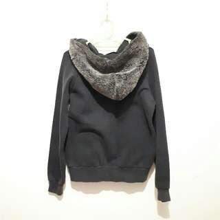 Black Jacket With Fur Hoodie