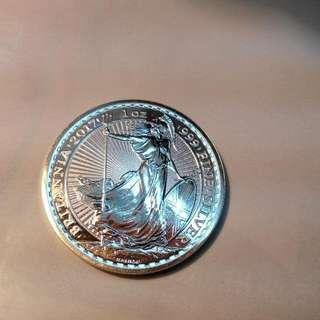 英國銀幣,銀幣,紀念幣,收藏,錢幣,收藏錢幣,幣,silver ,coin,silver coin~英國大不列顛女神銀幣(全新一盎司,含銀量99.9%)(獨特的放射線條防偽設計,幣值二英鎊)(The silver coin 1oz)