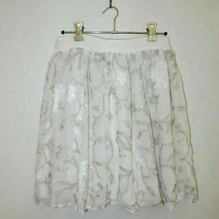 White And Silver Beaded Skirt