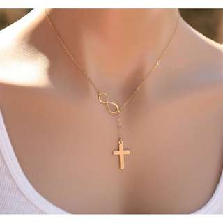 Gold Infinity Cross Necklace