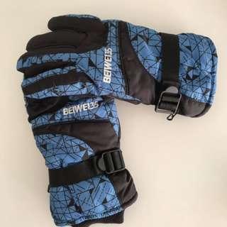 Men's Blue Snow Gloves