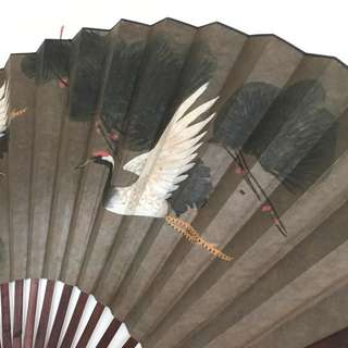 Crane Chinese Painting On Fan For Wall Mount