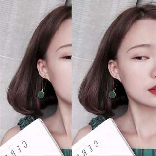 垂墜式耳環 復古 綠耳環 簡約 文藝 氣質 歐美