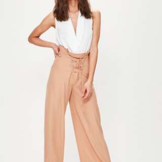 Misguided Nude Corset Detail Wide Leg Trousers