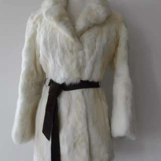 Vintage 70s White Genuine Thick Soft Plush Real Rabbit Fur Jacket Coat M EUC