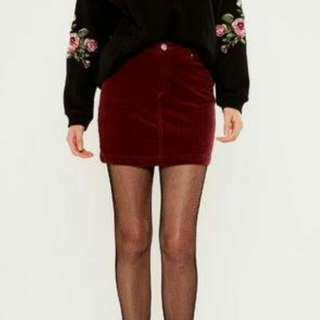 Brand new Glassons maroon denim skirt