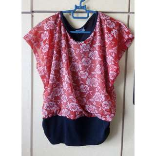 Red Dressy Blouse with Rose Print Motif