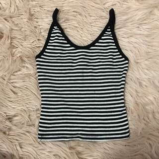 Supre Back And White Striped Crop Top