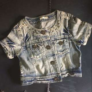 Washed Denim Cropped Top
