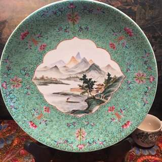 1950s Large Turquoise Famille Rose Deep Platter