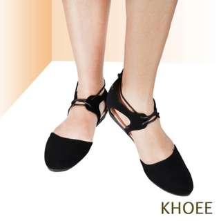 Khoee 621-18 Black Lace Up Women's Ballet Flat Sandals