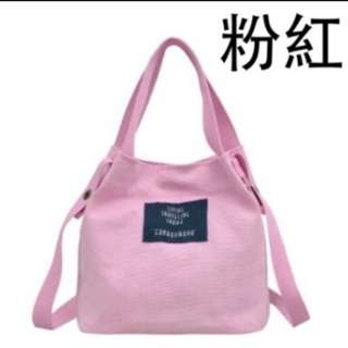 全新粉紅帆布水桶包❤️